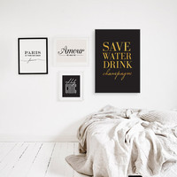"""Funny Print """"Save Water Drink Champagne"""", Funny Print, Humor Print, Funny Quote, Funny Poster, Typographic Poster, Wall Art, Motto."""