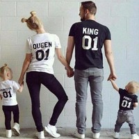 LMFUNT KING QUEEN Prince Princess 01 Letter T-Shirt Men/women Children's t shirt Hipster Clothes Cotton top tee Family Matching Outfits