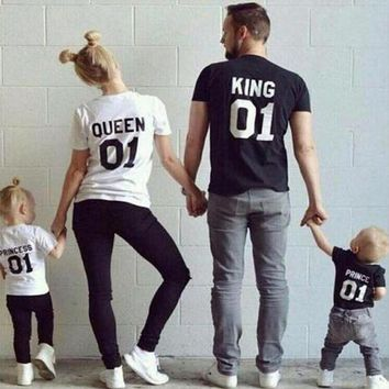 DCCKWQA KING QUEEN Prince Princess 01 Letter T-Shirt Men/women Children's t shirt Hipster Clothes Cotton top tee Family Matching Outfits