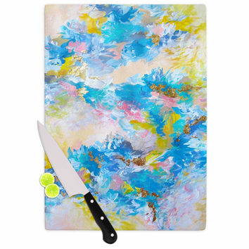 "Ebi Emporium ""When We Were Mermaids"" Blue Yellow Cutting Board"