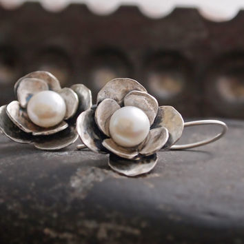 Sterling Silver Floral Pearl Earrings, Metalwork Handmade Flower