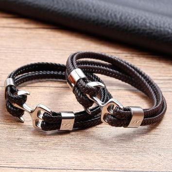 2018 Fashion Stainless Steel Anchor Bracelet Men Black Braided Cowhide Leather Rope Bracelets Wrap Punk Charm Jewelry