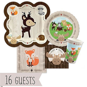 Woodland Creatures - Baby Shower or Birthday Party Tableware Plates Cups Napk...