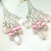 Rose Quartz and Pink Cats Eye Chandelier Silver Dangle Earrings