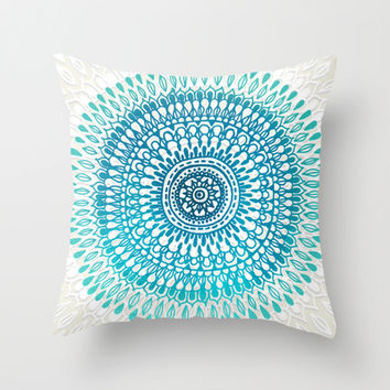 Radiate in Teal + Emerald Throw Pillow by Tangerine-Tane