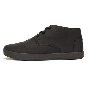 Toms for Men: Paseo Mid Black Synthetic Leather Sneaker