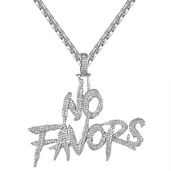 "Men's Iced Out No Favors Bold Custom Rapper Pendant Free 24"" Chain"