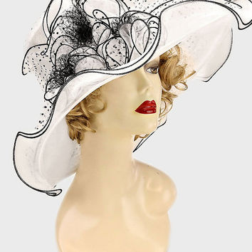 Kentucky Derby Church Wedding Noble Dress hat Polka Dot Organza White