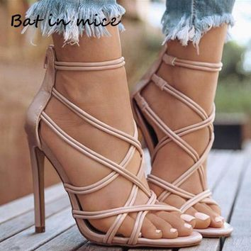 Casual Heels Women Pumps Shoes Office Lady Peep Toe Flock Sexy Multi-Strap Zipper High Heels 11cm Wedding Party shoes Mujer W131