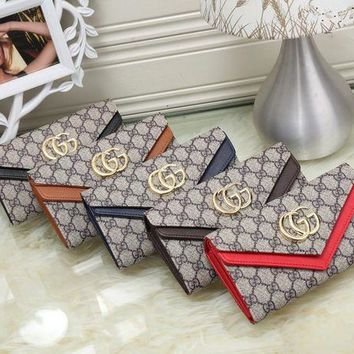 DCCK6HW Gucci' Women Purse Personality Multicolor GG Logo Double Layer Multifunction Flip Wallet Handbag