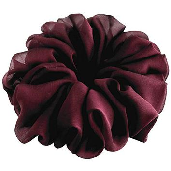 Ruby Wine Burgundy Large Chiffon Scrunchies Bridal Hair Accessories Ponytail Holder Teen Girls Women