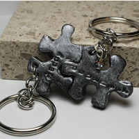 Puzzle Pieces Daddy and Daughter Keychains set
