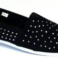 Womens Canvas Slip on Shoes sneakers W/ All Over Rhinestones 5 Colors