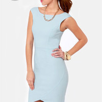 LULUS Exclusive Curve-age Under Fire Light Blue Midi Dress