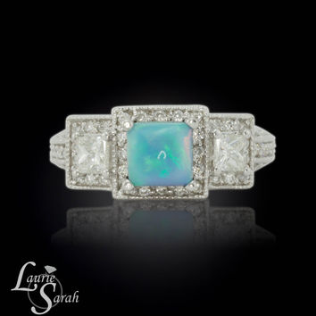 Opal Ring, Blue Opal Engagement Ring, Crystal Opal Ring, Opal and Diamond Ring, Blue Opal and Diamond Ring - LS4088