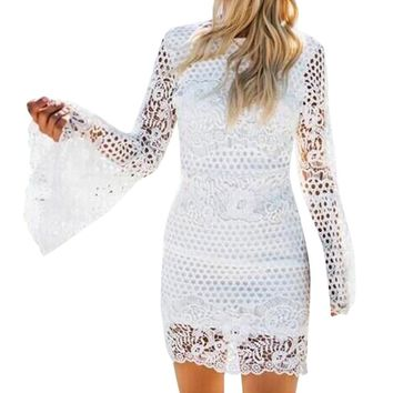 Lace Sleeve and Crochet Pencil Dress