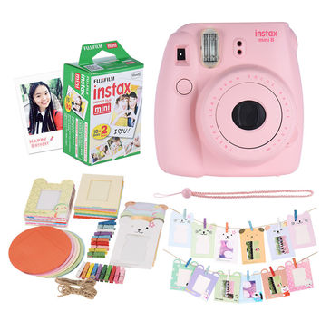 Fujifilm Instax Mini 8 Camera Kit Set Film Camera Photo Instant Camera with 20 * Film + Photo Frame + Clip + Hanging Strap