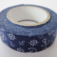 Cute Anchors & Wheels Blue Japanese Washi Paper Deco Tape