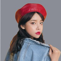 SUOGRY Fashion Black Leather Beret Female French Beret Hat Winter Painter Hat For Women Spring Summer Autumn