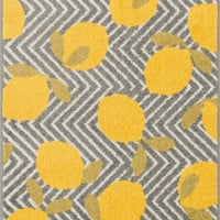 "Tilley Grey / Yellow 2'5"" X 3'9"" Hearth Rug"