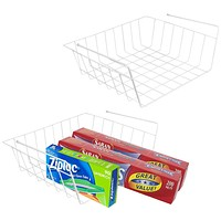 Evelots Set of 2 Under Shelf Baskets, Wire Rack Storage