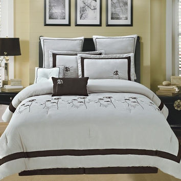 Spring Hill Luxury Queen Beige/ Chocolate Comforter Super Set
