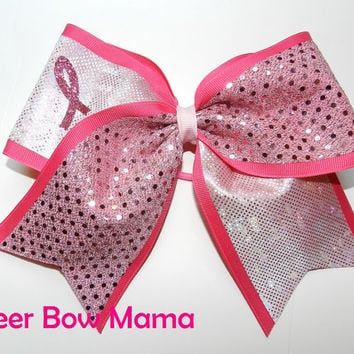 Shiny Breast Cancer Awareness Cheer Bow