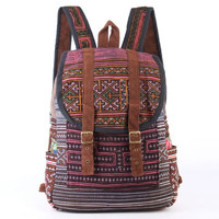 Pink Boho Backpack Hmong Ethnic Tribal Purse Gypsy Hippie Style