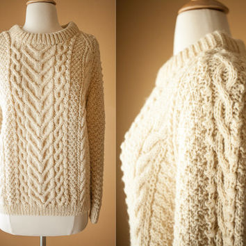 Vintage Hand Knit Sweater | Scottish Wool Sweater Coat Ski Ivory 70s Sweater Vintage Jumper Cable Knit Fisherman Sweater Pullover