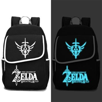 2017 New The Legend of Zelda: Breath of the Wild Luminous Printing Women Backpack Large Travel Laptop Bags Canvas School Bags