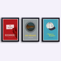 Wes Anderson Collection - 3 original posters inspired by Wes Anderson films - Rushmore - Moonrise Kingdom - The Life Aquatic - 25% off