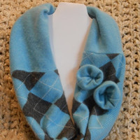 SALE Blue Argyle Cashmere Infinity Scarf with flowers, Womens, Upcycled