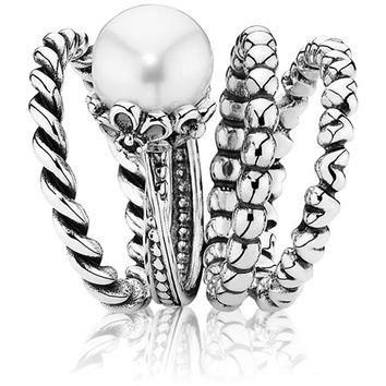 Authentic Pandora Jewelry - Forever Bloom w-Pearl Ring Stack