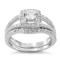 Sterling Silver Cush Cut CZ Engagement Ring & Wedding Band Set - 2 Bridal Rings