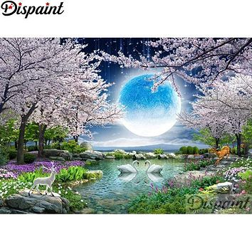 5D Diamond Painting Deer & Swan Moon Kit