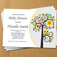 Neutral Baby Shower Invitations Owl Baby Shower Invites Yellow Baby Shower Invitation Yellow - FREE Thank You card (123a)