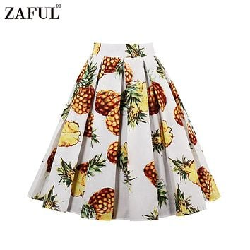 ZAFUL 2017New Fashion Women Vintage Swing Skirts Banana/Leaf/Pineapple Print S~2XL Retro Skirts Zipper 100%Cotton Casual Skirts