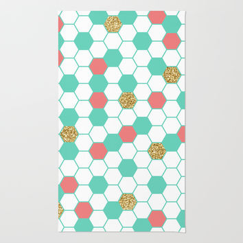 Mint Coral Gold Glitter Honeycomb Scatter Rug by Doucette Designs
