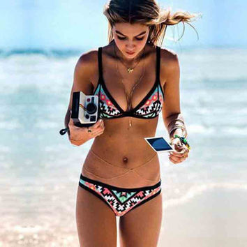 Stay Pointed Triangle Print Bikini Set