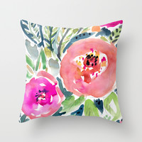 Peach Floral Throw Pillow by Barbarian By Barbra Ignatiev