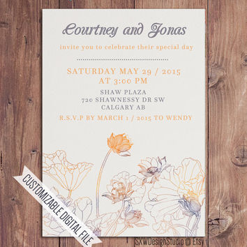Watercolour Lotus Orange Blue Wedding Invitation - Classy Old Fashioned Flower Print Elegant Professional Pretty - DIY Printable (012)