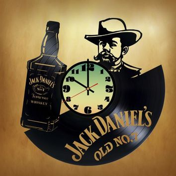 JACK DANIEL'S OLD NO. 7 HANDMADE VINYL RECORD WALL CLOCK