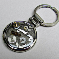 Men, keychain, watch parts, Steampunk, zinc alloy lead free,silver 925 plating, polished, resin, 37mm, gift for him, 2nd photo CHOOSE, yours