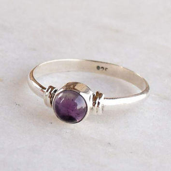 Amethyst  Ring, Amethyst Stone Silver Ring, Silver Ring, 925 Sterling Silver Ring,Midi Ring,Silver Stone Ring,Size US 2 ,3,4,5,6, 7, 8, 9,10