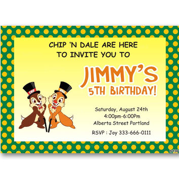 Chip 'N Dale Polka Dot Kids Birthday Invitation Party Design