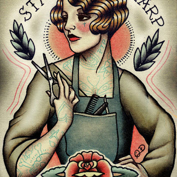 Barber Girl Tattoo Art Print