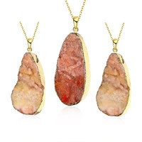 Fire Opal Stone Oval Natural Crystal Necklace