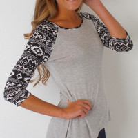 Geometric Print Sleeve Long Sleeve Shirt
