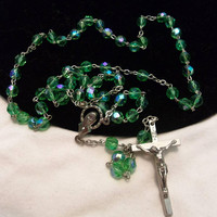 Antique Green Aurora Borealis Glass Bead Silver Plate Rosary Vintage Beads Crucifix Italy