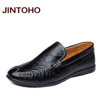 casual shoes slip on pointed toe shoes for men genuine leather mens loafers mens flats
